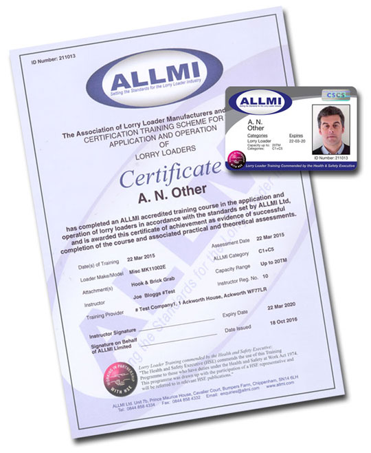 Operator - ALLMI Certificate and Card